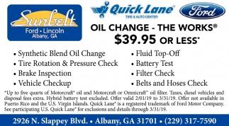 Sunbelt Ford Albany Ga >> Oil Change 39 95 Or Less Sunbelt Ford Lincoln Of Albany