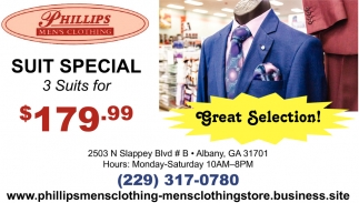 Suit Special, 3 Suits for $179.99