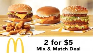 2 for $5 Mix Match Deal